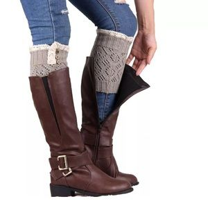 Accessories - Light Grey Crochet Sweater Lace Ruffle Boot Cuffs